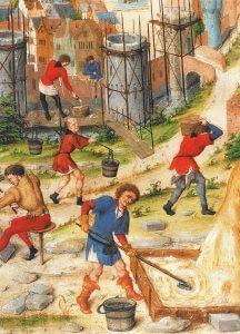 schilderij van een middeleeuwse bouwwerf